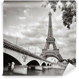 Fototapeta Winylowa Wieża Eiffla widok z rzeki kwadratowym formacie seine