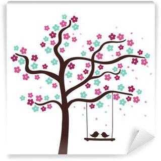 Fototapeta Winylowa Wiosną kwiat drzewa z dwoma ptakami