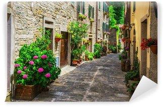 Fototapeta Winylowa Włoski ulicy w małym prowincjonalnym miasteczku toskański