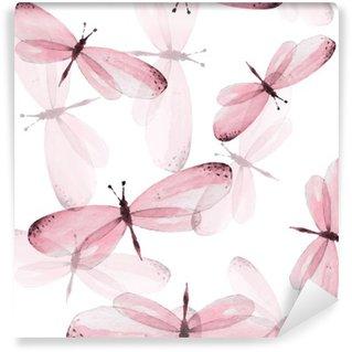 Fototapeta Winylowa Wzór motyli. Jednolite tło wektor. Ilustracja akwarela 10
