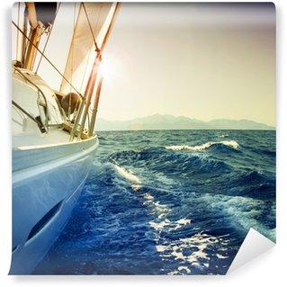 Vinylová Fototapeta Yacht Sailing proti sunset.Sailboat.Sepia tónovaný
