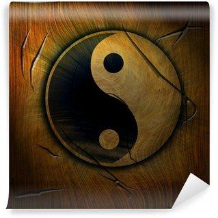 Vinylová Fototapeta Yin Yang symbol na dřevěné pozadí