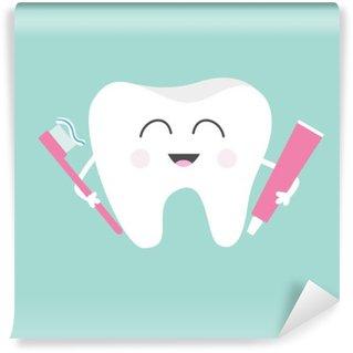 Fototapeta Winylowa Ząb gospodarstwa pasty do zębów i szczoteczkę do zębów. Śliczne śmieszne kreskówki z uśmiechem. Dzieci do pielęgnacji zębów ikony. Oral higienę jamy ustnej. zdrowia zębów. Dziecko tła. Płaska konstrukcja.