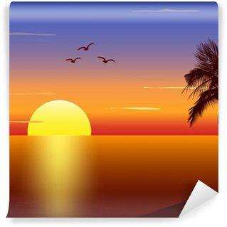 Fototapeta Vinylowa Zachód słońca z sylweta palmtree