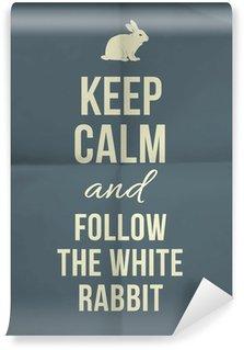 Vinylová Fototapeta Zachovejte klid a ladem bílý králík cenovou nabídku na papír textury