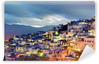 Vinylová Fototapeta Západ slunce na Chefcha- modré město v Maroku
