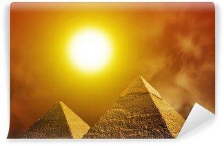 Vinylová Fototapeta Západ slunce nad pyramidami v Gíze. Egypt
