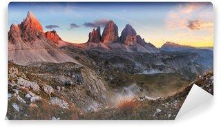 Vinylová Fototapeta Západ slunce panorama hor v Itálii Dolomity - Tre Cime
