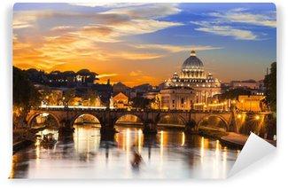 Vinylová Fototapeta Západ slunce pohled z baziliky svatého Petra a řeky Tiber v Římě. Itálie