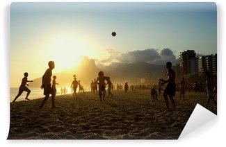 Vinylová Fototapeta Západ slunce Siluety Hra Altinho Futebol plážový fotbal Brazílie