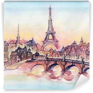 Vinylová Fototapeta Západ slunce v Paříži
