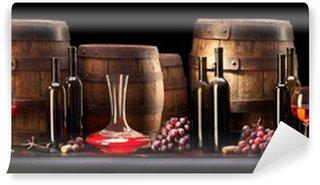 Vinylová Fototapeta Zátiší s červeným vínem a starým barel