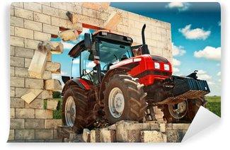 Vinylová Fototapeta Zcela nový traktor prorážet zeď