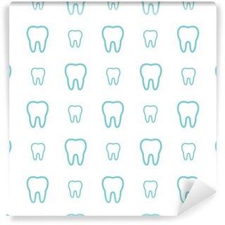 Fototapeta Vinylowa Zęby na białym tle. Wektor bez szwu deseń dentystycznych.