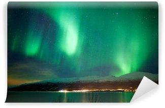 Vinylová Fototapeta Zelená aurora borealis tanec na obloze
