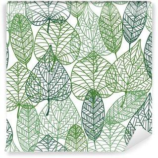 Vinylová Fototapeta Zelené listí bezproblémové vzor