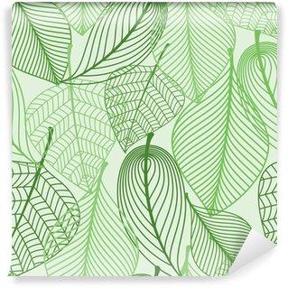 Vinylová Fototapeta Zelené listy bezešvé vzor na pozadí