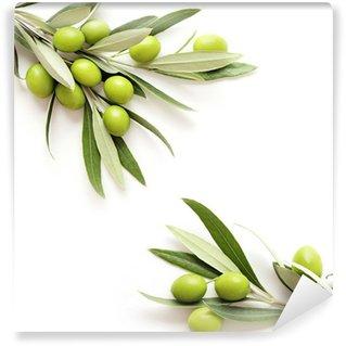 Vinylová Fototapeta Zelené olivy na bílém pozadí. copy space