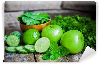 Vinylová Fototapeta Zelené ovoce a zeleniny na dřevěném pozadí