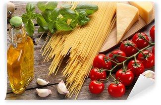 Vinylová Fototapeta Zelenina, bylinky a koření pro italské jídlo