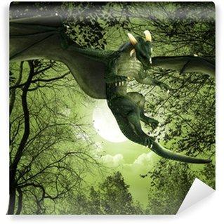 Vinylová Fototapeta Zelený drak plovoucí noční pohled