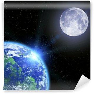 Vinylová Fototapeta Země Měsíc a hvězdy ve vesmíru