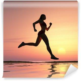 Vinylová Fototapeta Žena běží na pláži