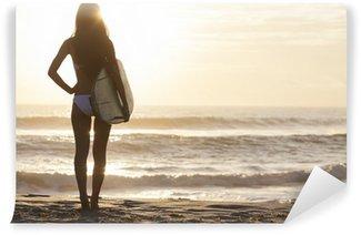 Vinylová Fototapeta Žena Bikini Surfer & surf Sunset Beach
