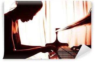 Vinylová Fototapeta Žena hrát na klavír