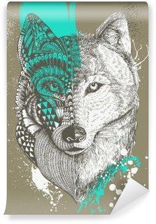 Vinylová Fototapeta Zentangle stylizovaný vlk s barvou stříkance, ručně malovaná ilustrace