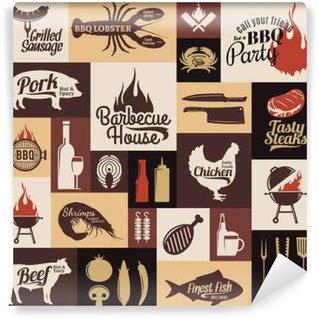 Fototapeta Winylowa Zestaw etykiet wektora do grillowania, ikon i elementów konstrukcyjnych