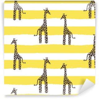 Vinylová Fototapeta Žirafa vektorové bezešvé vzor. Žirafa žlutá a bílá textura skvrny. Safari divoké zvíře pozadí se žlutými vodorovnými tučnými čarami pro miminko kojenecké oblečení.