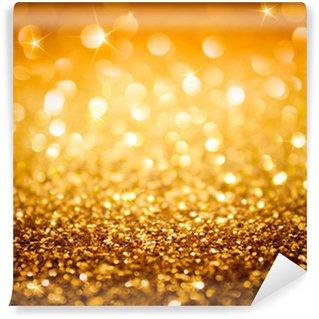 Vinylová Fototapeta Zlaté třpytky a hvězdy na vánoční pozadí