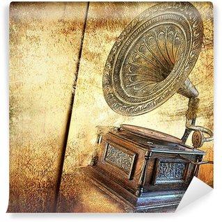 Vinylová Fototapeta Zlatý gramofon - vinobraní pozadí
