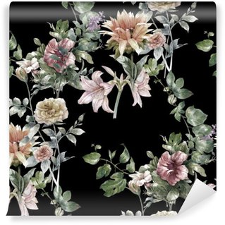 Fototapeta Zmywalna Akwarela liści i kwiatów, szwu na ciemnym tle,