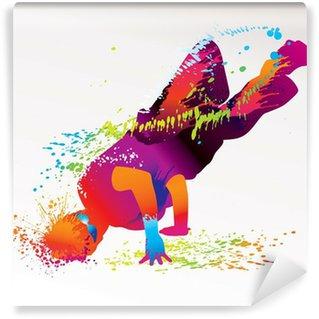 Fototapeta Zmywalna Chłopiec taniec z kolorowe plamy i odpryskami. wektor