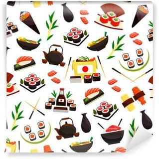 Fototapeta Zmywalna Japońskie dania z owoców morza, sushi bez szwu wzór