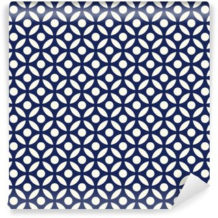 Fototapeta Zmywalna Jednolite porcelany indygo niebieski i biały arabski okrągłe wektor wzór