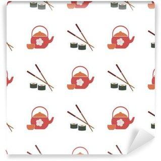 Fototapeta Zmywalna Jednolite tło z japońskich symboli dla projektu
