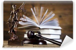 Fototapeta Zmywalna Mallet, kodeks prawny i skale sprawiedliwości