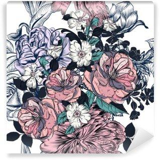 Fototapeta Zmywalna Piękny szwu z ręcznie rysowane róż i kwitnie