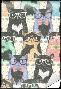 Fototapeta Zmywalna Powtarzalne z hipster cute kotów dla dzieci