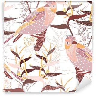 Fototapeta Zmywalna Powtarzalny kwiatowy wzór z ptakami