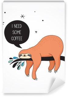 Fototapeta Zmywalna Śliczne ręcznie rysowane ilustracje leniwce, śmieszne wektor wzór karty