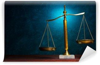 Fototapeta Zmywalna Sprawiedliwość skala na niebieskim tle