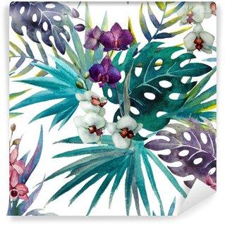 Fototapeta Zmywalna Wzór z liśćmi hibiskusa i orchidei, akwarela