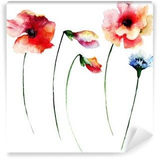 Fototapeta Zmywalna Zestaw akwareli letnich kwiatów