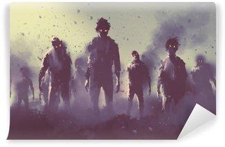 Vinylová Fototapeta Zombie dav chůzi v noci, Halloween koncept, ilustrace malba
