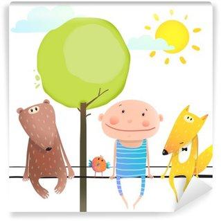 Vinylová Fototapeta Zvířátka a dítě roztomilý legrační přátelé kreslený sedí vysoko