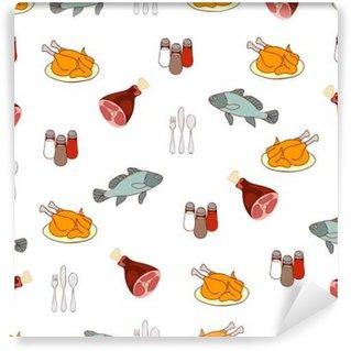Fototapeta Winylowa Żywność tło wektor, mięso i ryby. Rysowane kreskówki wielobarwny spożywcze, gustable ilustracji. Dla konstrukcji tkaniny, tapety, sklep, dekorowanie kuchnia, restauracja, kawiarnia
